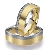 Trauring  Gelbgold Platin 0,15 ct. w/si