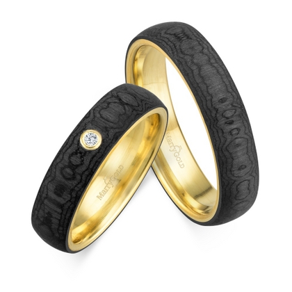 Trauring MarryGold Gelbgold 375 Carbon 1x Solitär (0,015 ct. tw/si)