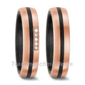 Trauring  Carbon Roségold 0,05 ct. w/si